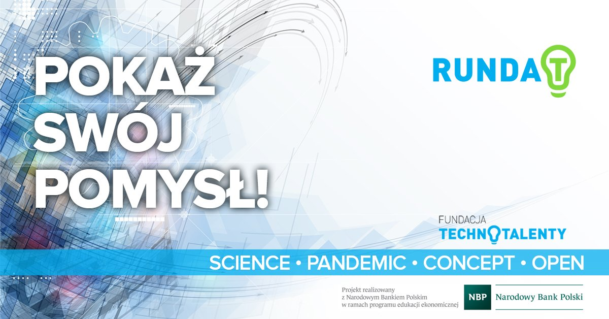 """plakat informacyjny, niebieskie tło, napisa""""Pokaż swój pomysł, Runda T"""""""