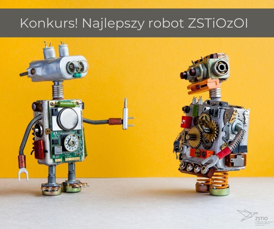 dwa metalowe roboty, jeden trzyma srubokręt, drugi stoi bokiem, na sobie mają śruby, sprężyny