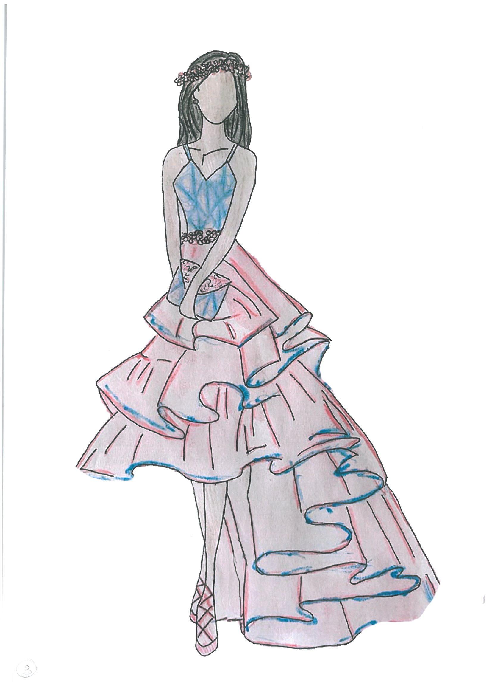 Projekt sukienki koktajlowej narysowanej przez Natalię Kwiotek - uczestniczki konkursu