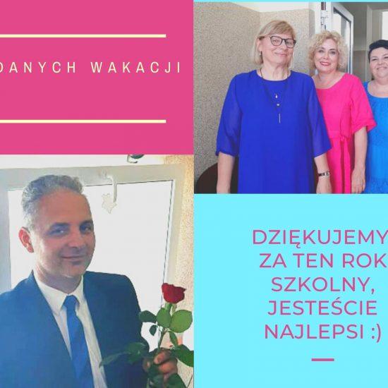 pocztówka, górny prawy róg trzy kobiety, pierwsza w niebieskiej sukience, druga w fuksjowej, trzecia w niebieskiej, w lewym dolnym rogu mężczyzna w garniturze z różą