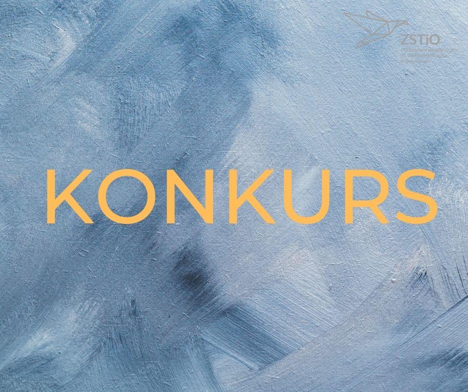 Jasne niebieskie tło malowane farbami, napis Konkurs