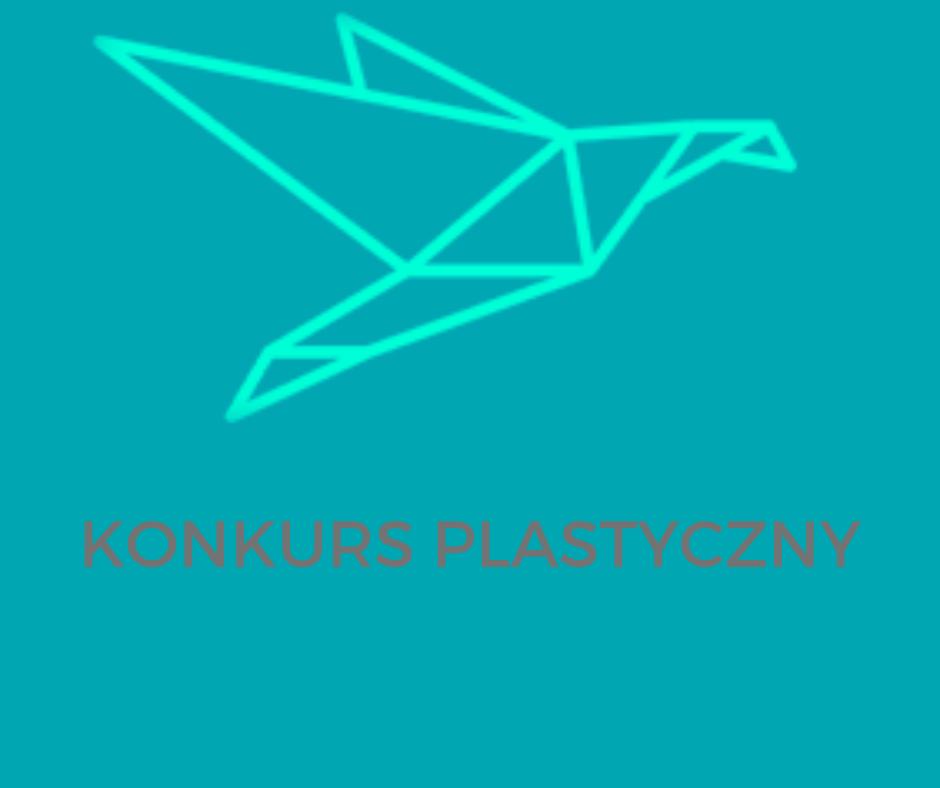 logo szkoły, ptak, napis konkurs plastyczny