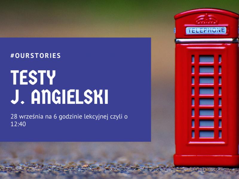 budka telefoniczna w stylu angielskim, napis testy z języka angielskiego