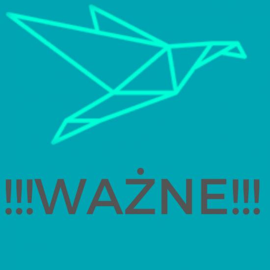 niebieskie tło,logo grafika ptak, napis ważne