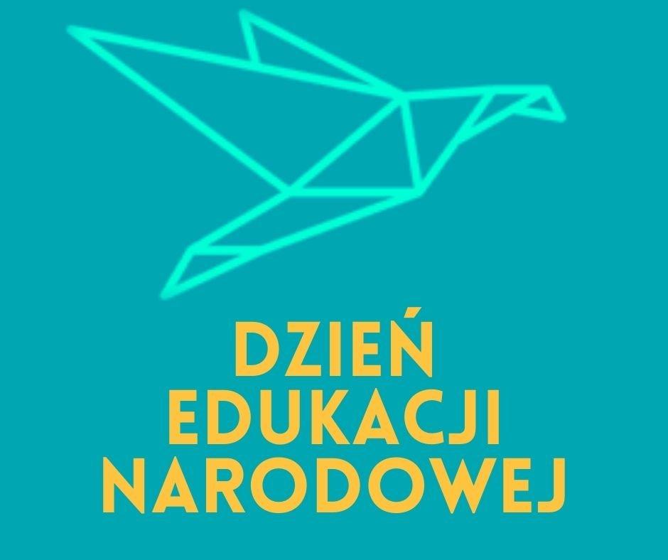 logo szkoły, graficzny ptak, napis dzień edukacji narodowej