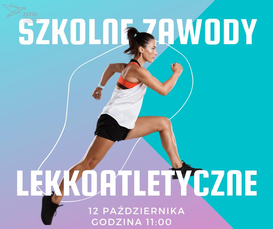 plakat informacyjny, kobieta w stroju sportowym ustawia się do biegu
